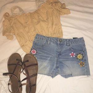 Other - floral denim shorts